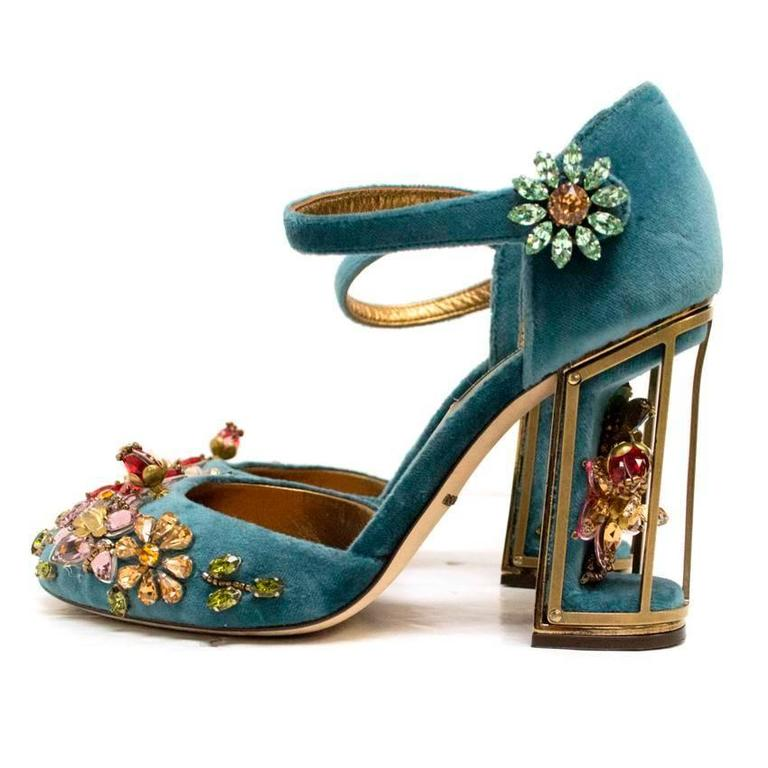 Dolce & Gabbana Teal Embellished Velvet Cage-Heel Pumps 4