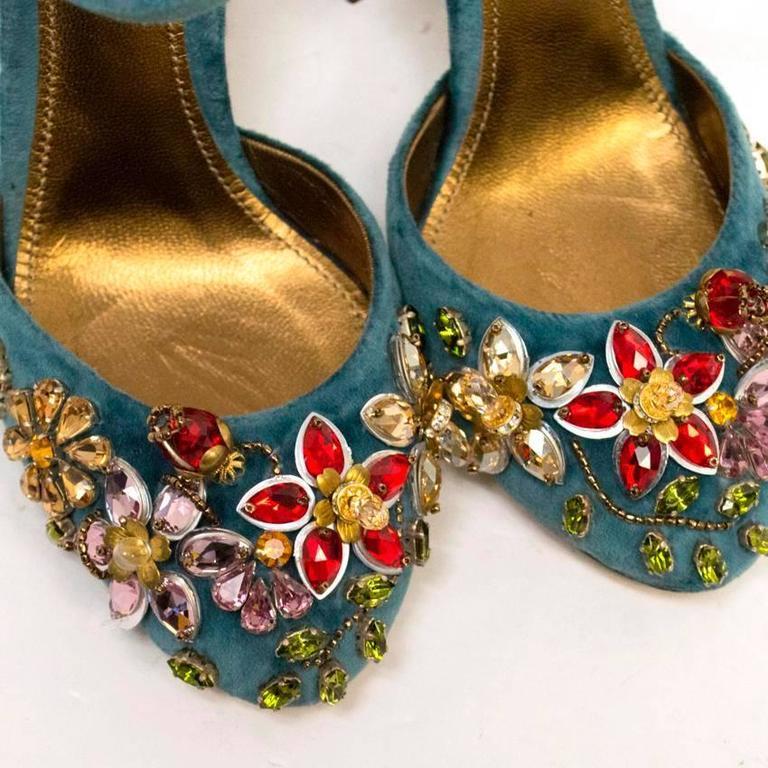 Dolce & Gabbana Teal Embellished Velvet Cage-Heel Pumps 7