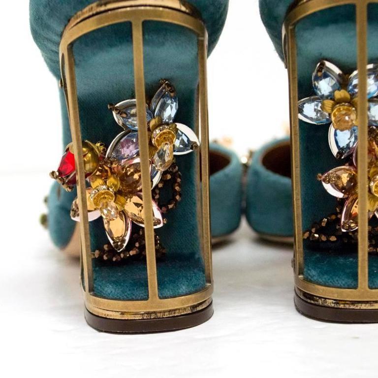 Dolce & Gabbana Teal Embellished Velvet Cage-Heel Pumps 5