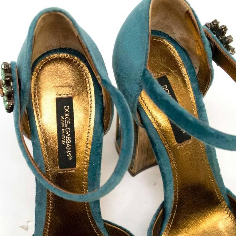 Dolce & Gabbana Teal Embellished Velvet Cage-Heel Pumps 8