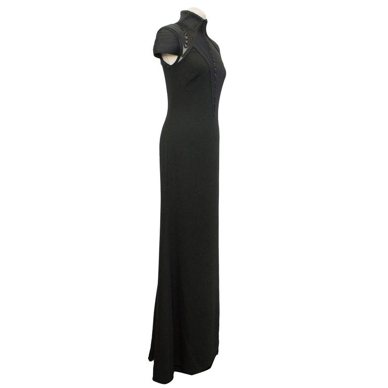 Ralph Lauren Brita Black Evening Dress With Rope Embellishment Around Neckline And On