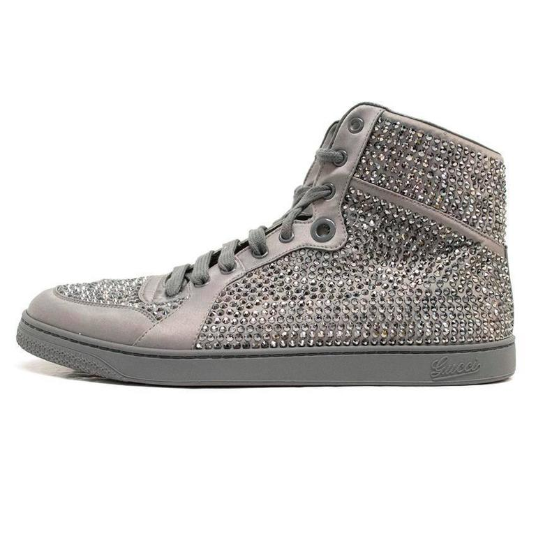 Gucci Grey Diamante Hi Top Trainers For Sale At 1stdibs