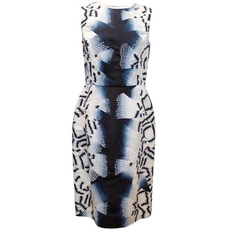 Oscar de la Renta Blue Silk Printed Dress For Sale