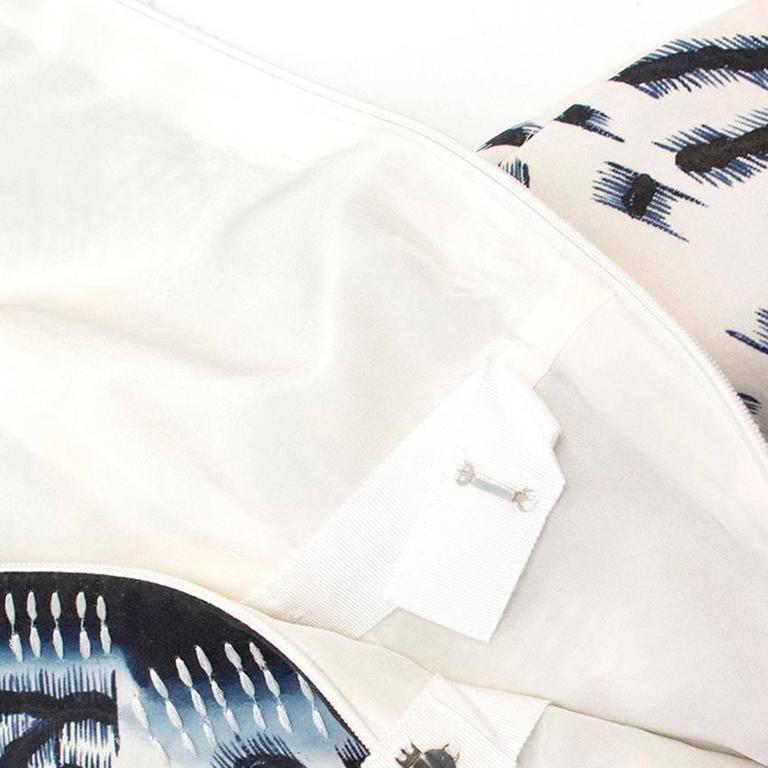 Oscar de la Renta Blue Silk Printed Dress For Sale 3