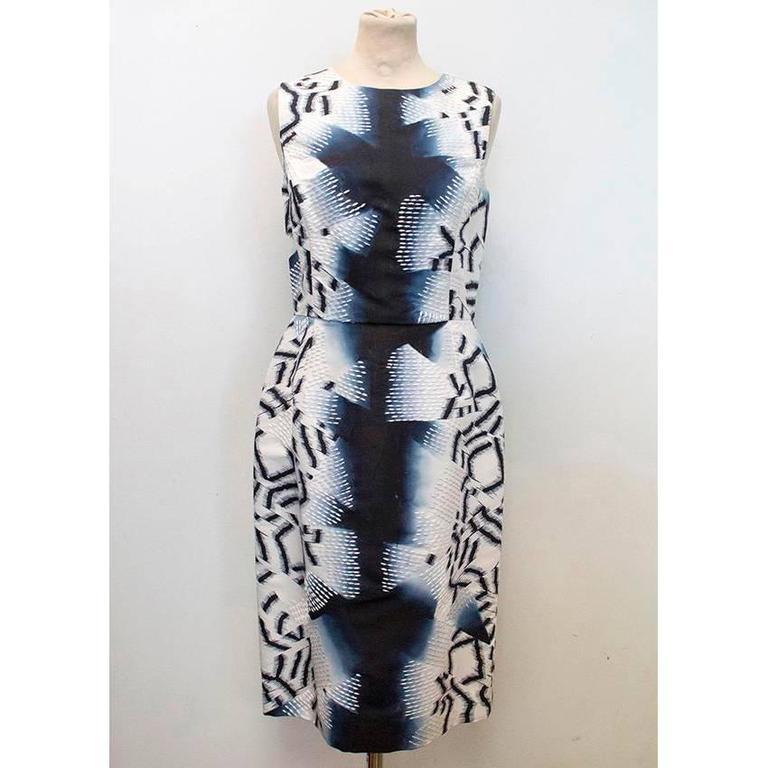 Oscar de la Renta Blue Silk Printed Dress For Sale 5