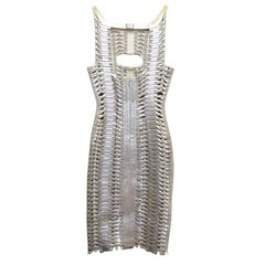 Herve Leger Silver Metallic Woven Bodycon Dress