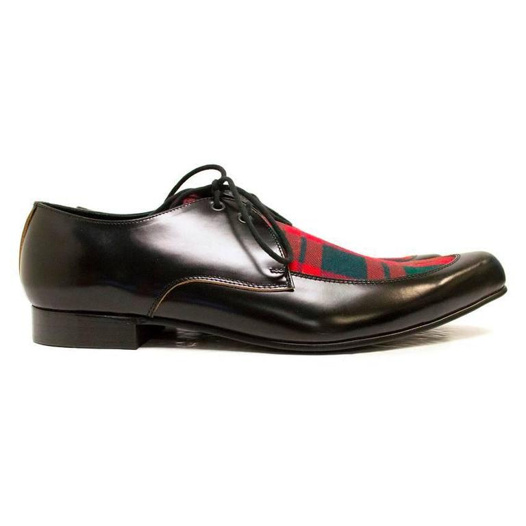 Comme des Garcons Black Leather Pointed Shoes with Red Tartan Detail on Front 2