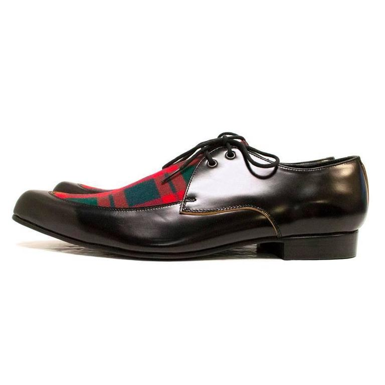 Comme des Garcons Black Leather Pointed Shoes with Red Tartan Detail on Front 4