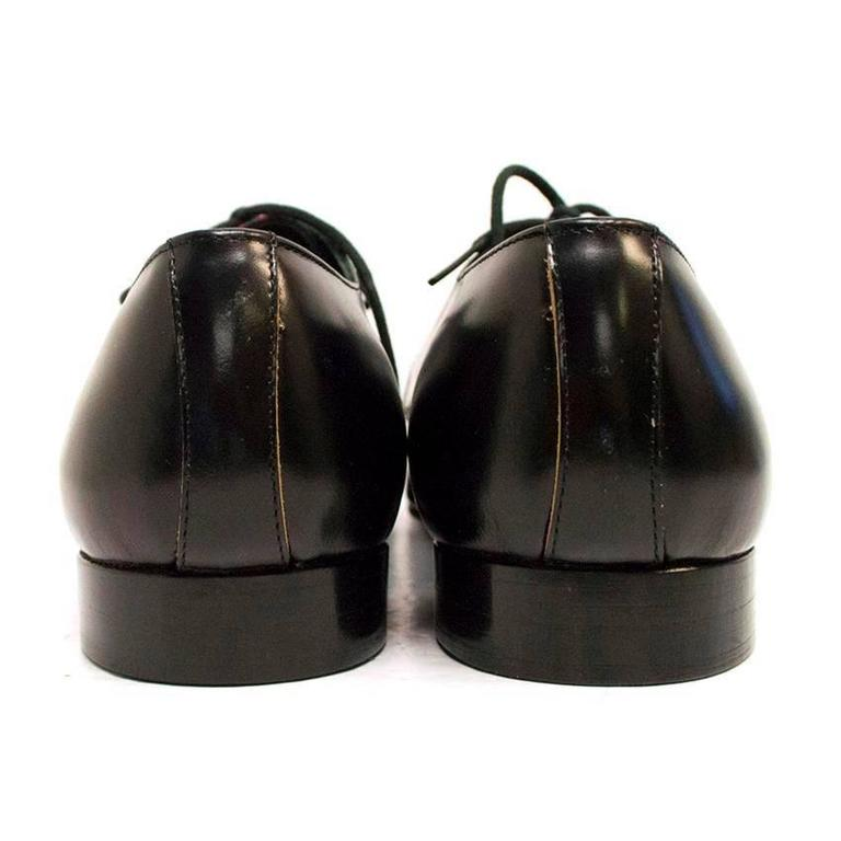 Comme des Garcons Black Leather Pointed Shoes with Red Tartan Detail on Front 3
