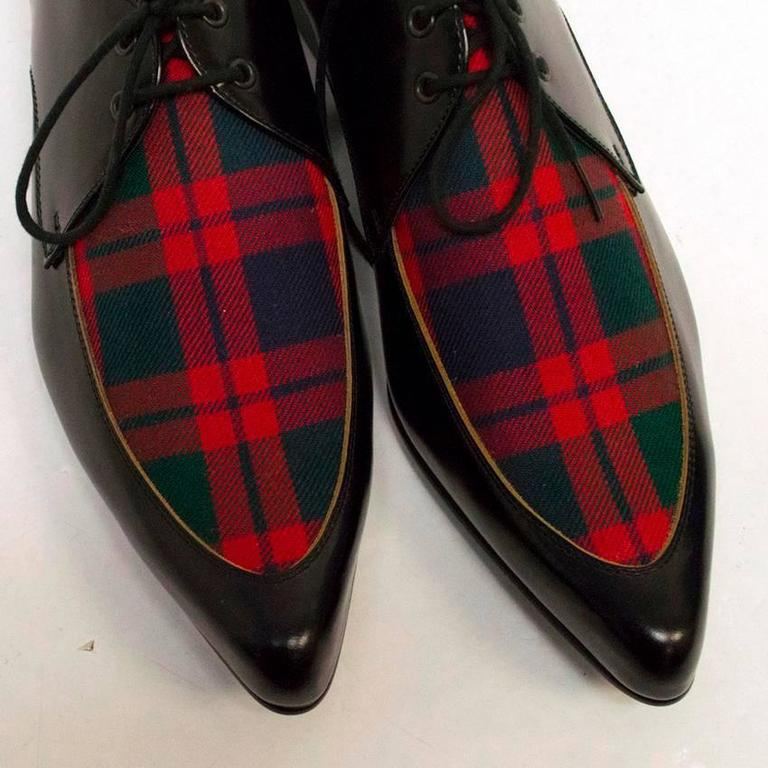 Comme des Garcons Black Leather Pointed Shoes with Red Tartan Detail on Front 5
