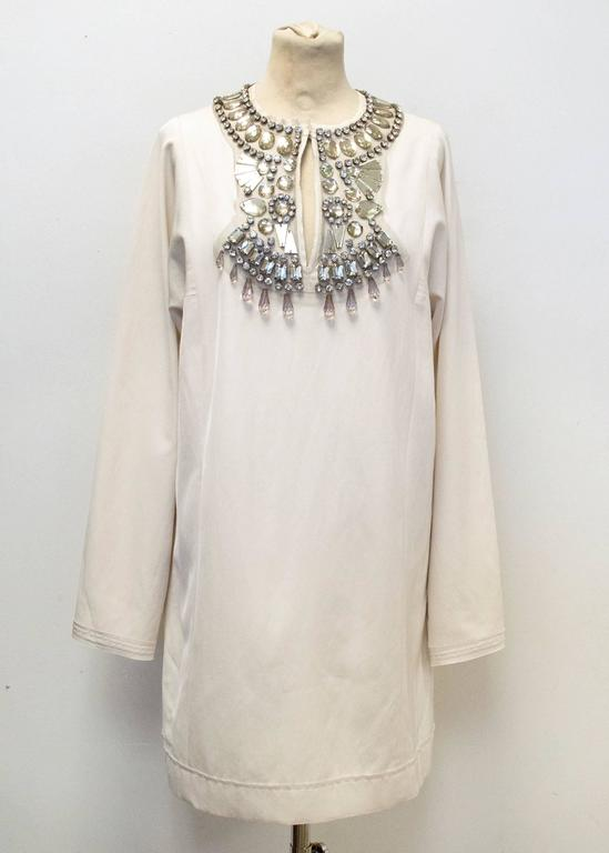 Lanvin Cream Embellished Tunic Dress 2