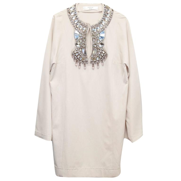 Lanvin Cream Embellished Tunic Dress 1