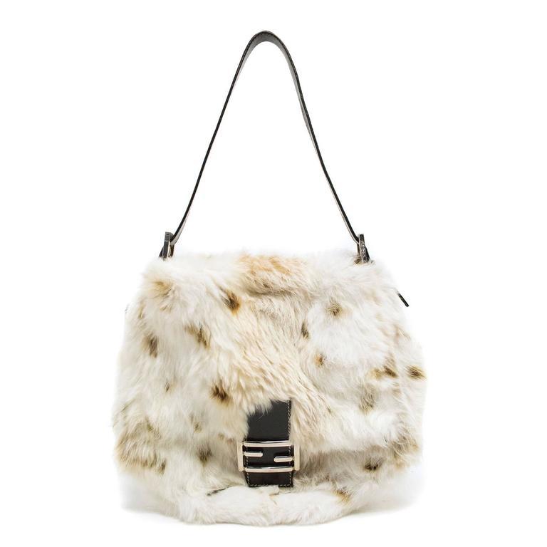 9c274d3112 Fendi Rabbit Fur White and Brown Shoulder Bag For Sale at 1stdibs