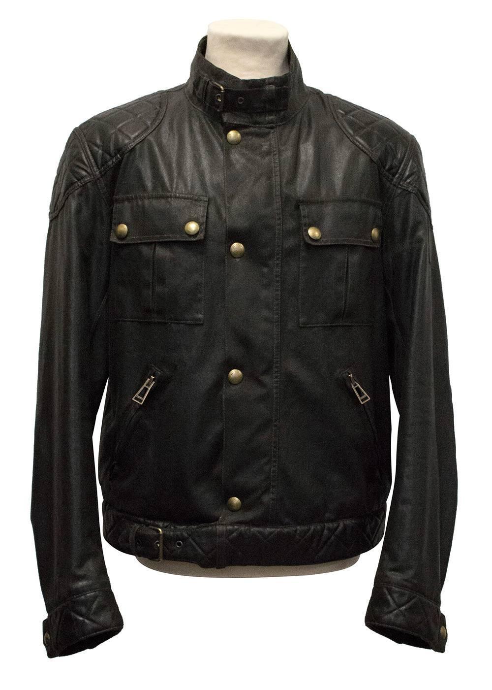 belstaff dark brown leather jacket for sale at 1stdibs. Black Bedroom Furniture Sets. Home Design Ideas