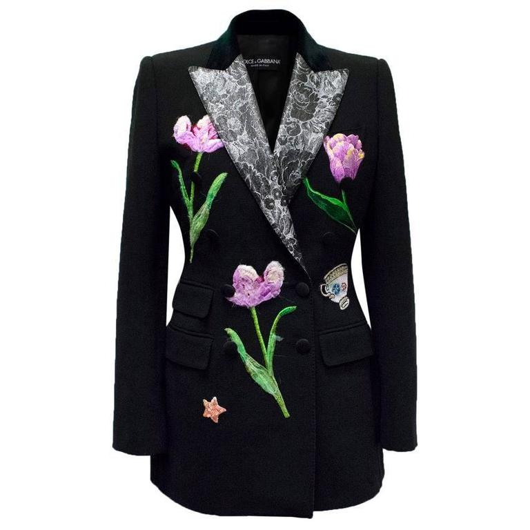 Dolce & Gabbana Black Wool Long Blazer with Embroidery For Sale