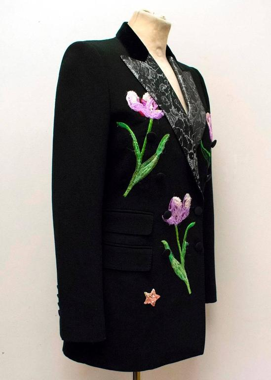 Women's Dolce & Gabbana Black Wool Long Blazer with Embroidery For Sale