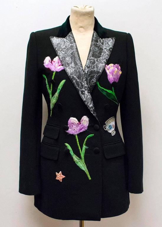 Dolce & Gabbana Black Wool Long Blazer with Embroidery For Sale 2