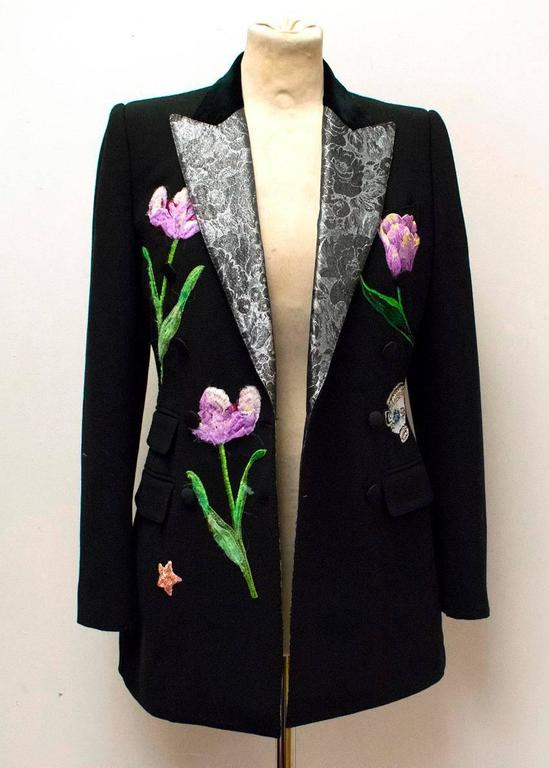 Dolce & Gabbana Black Wool Long Blazer with Embroidery For Sale 1