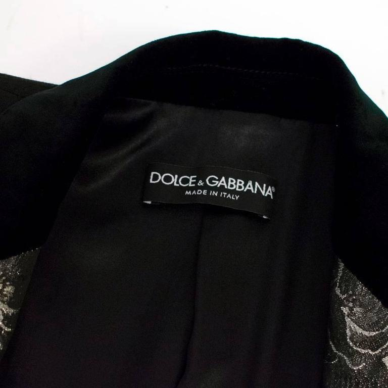 Dolce & Gabbana Black Wool Long Blazer with Embroidery For Sale 3