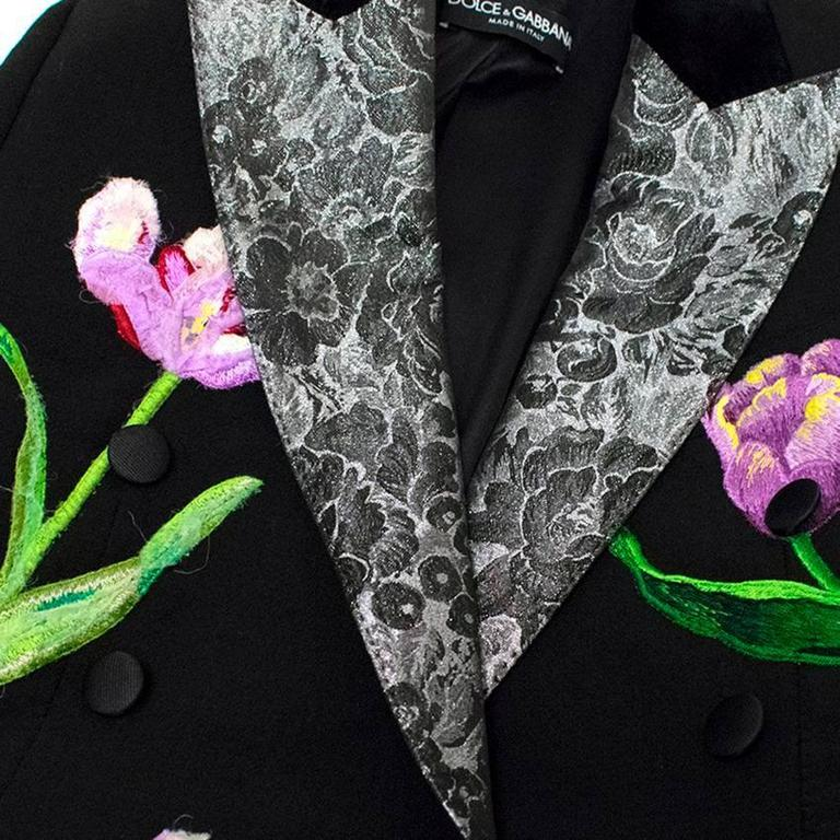 Dolce & Gabbana Black Wool Long Blazer with Embroidery For Sale 5