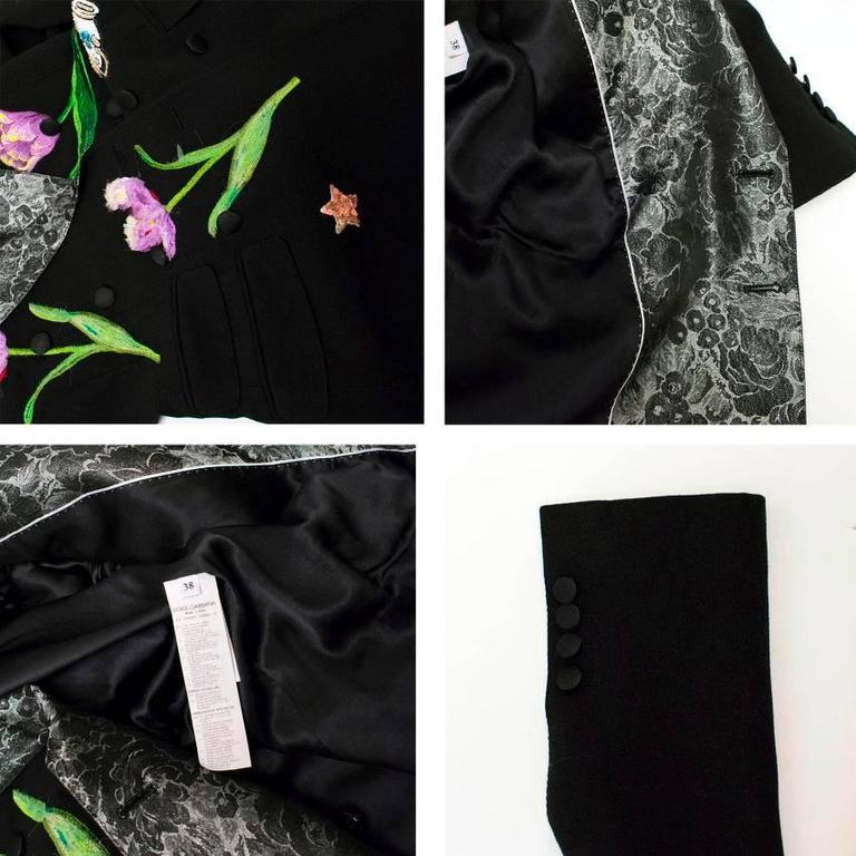 Dolce & Gabbana Black Wool Long Blazer with Embroidery For Sale 4