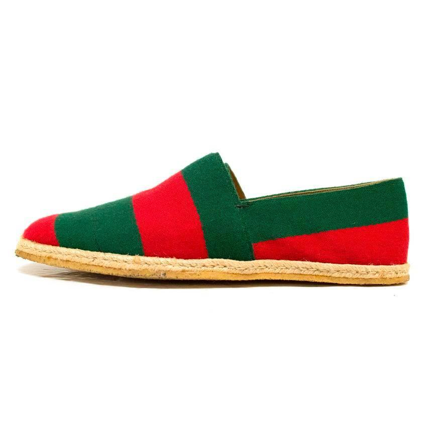 Gucci Green and Red Menu0026#39;s Striped Espadrilles For Sale at 1stdibs