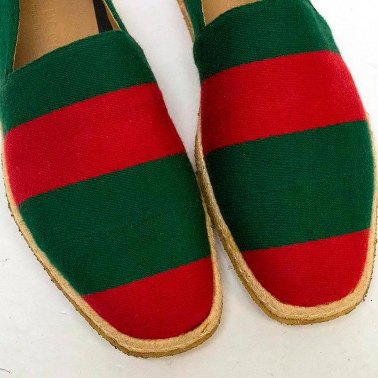 Gucci Green and Red Men's Striped Espadrilles For Sale at ...