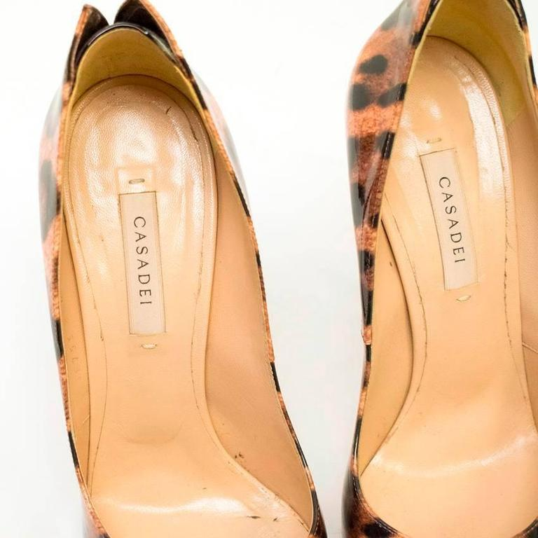 Casadei Patent Leather Leopard Print Pumps 3