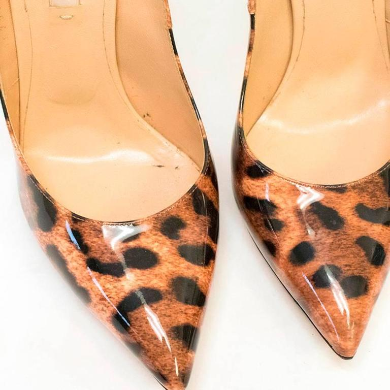 Casadei Patent Leather Leopard Print Pumps 2