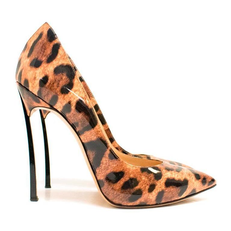Casadei Patent Leather Leopard Print Pumps 5