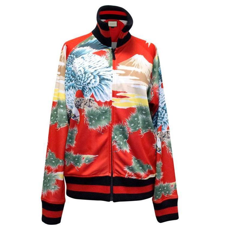 848f6671c Gucci Men's Red Eagle Print Technical Jersey Jacket For Sale at 1stdibs