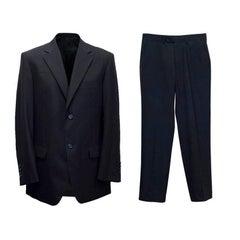 Balmain Black Pinstripe Suit 48R