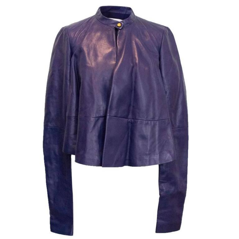 Vionnet purple leather jacket For Sale