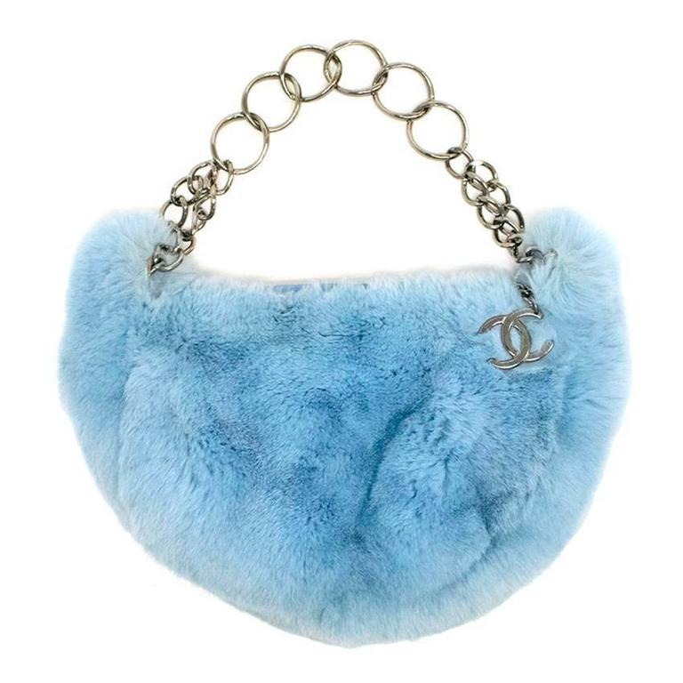6dce752512d9 Chanel Powder Blue Rabbit Fur Handbag For Sale at 1stdibs