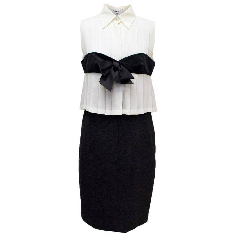 Chanel Black and Cream Dress with Black Bow Detail 1