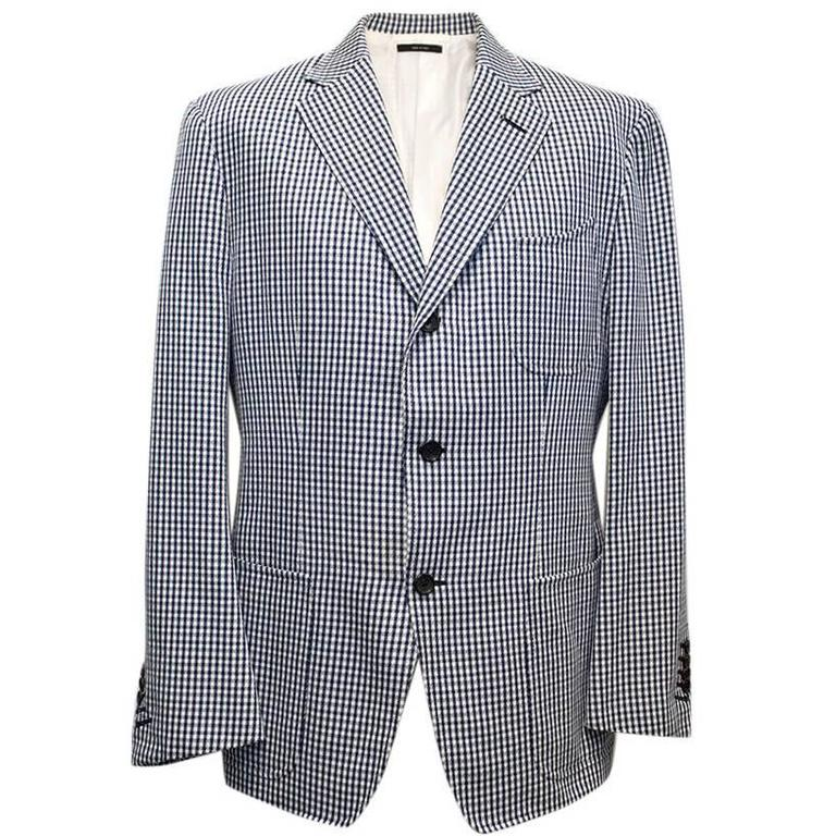 Tom Ford Blue and White Checkered Blazer 1