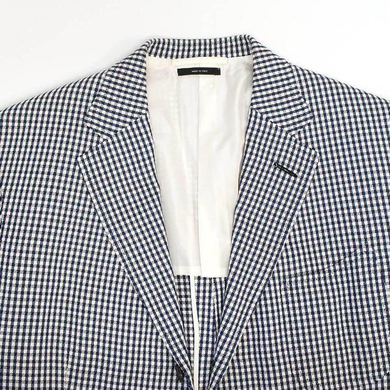 Tom Ford Blue and White Checkered Blazer 3