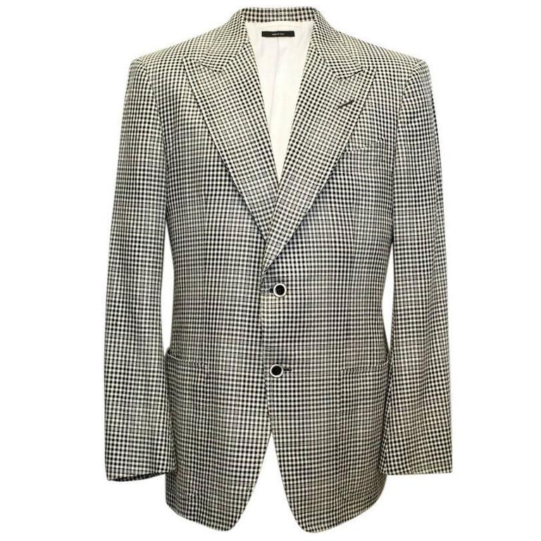 Tom Ford Black and White Checkered Blazer 1