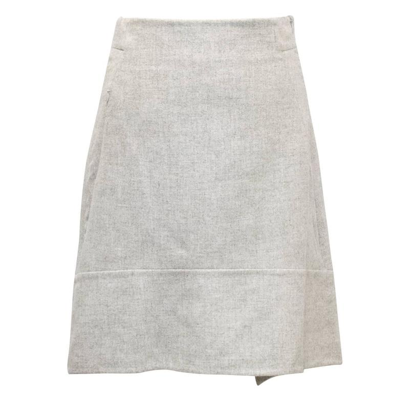 Akris Grey Cashmere Double-Face Skirt 1