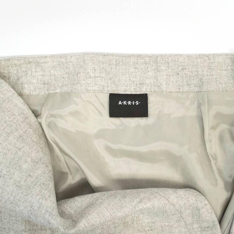 Akris Grey Cashmere Double-Face Skirt 6