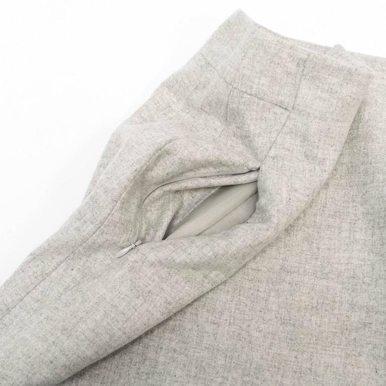 Akris Grey Cashmere Double-Face Skirt 8