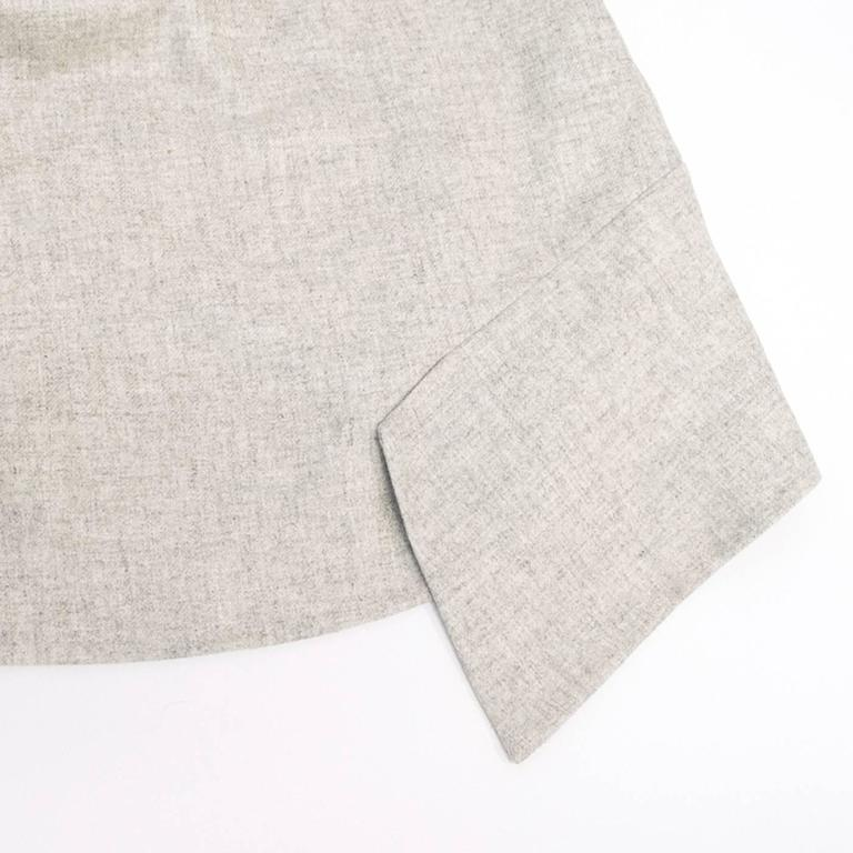 Akris Grey Cashmere Double-Face Skirt 10