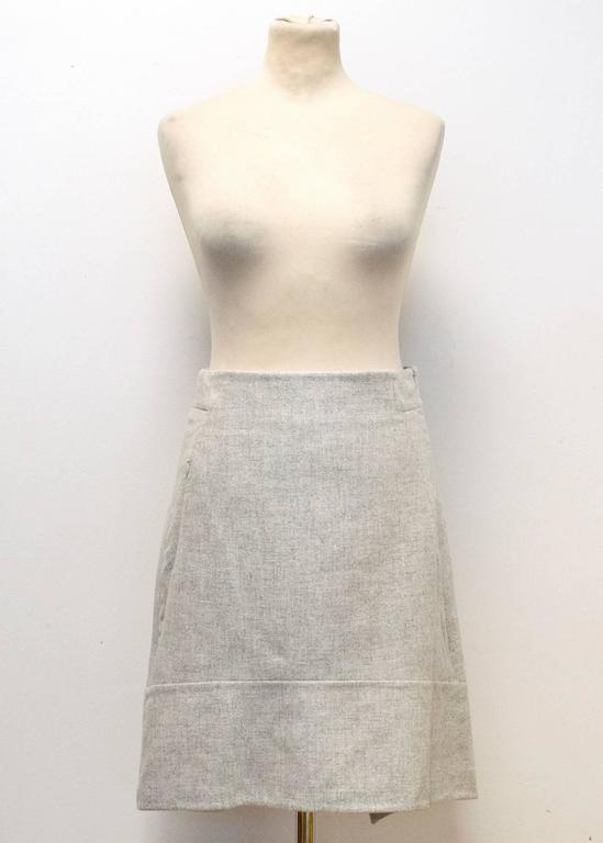 Akris Grey Cashmere Double-Face Skirt 2