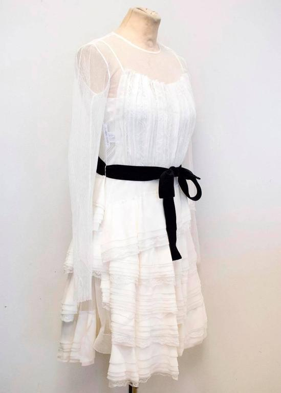 Alberta Ferretti Cream Ruffled Mini Dress In New Condition In London, GB