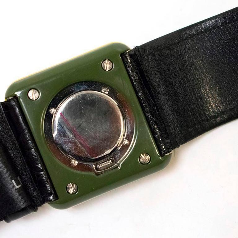 Prada Green and Yellow Watch Bracelet with Black Leather ...