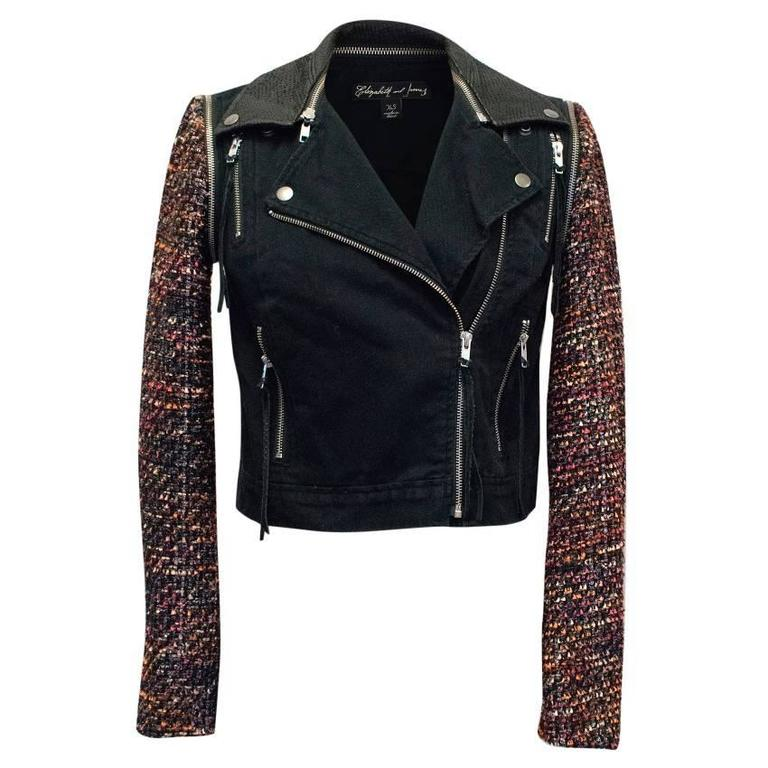 Elizabeth and James Current Season 'Rory' Boucle/ Denim Biker Jacket 1