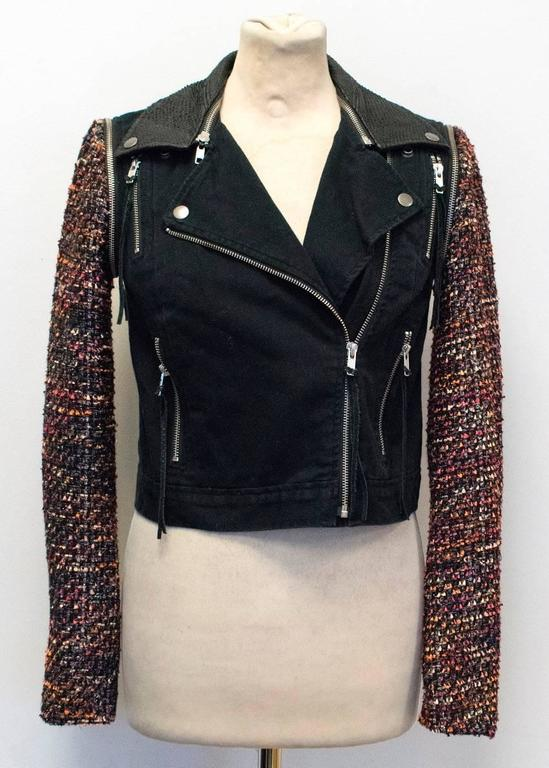 Elizabeth and James Current Season 'Rory' Boucle/ Denim Biker Jacket 3