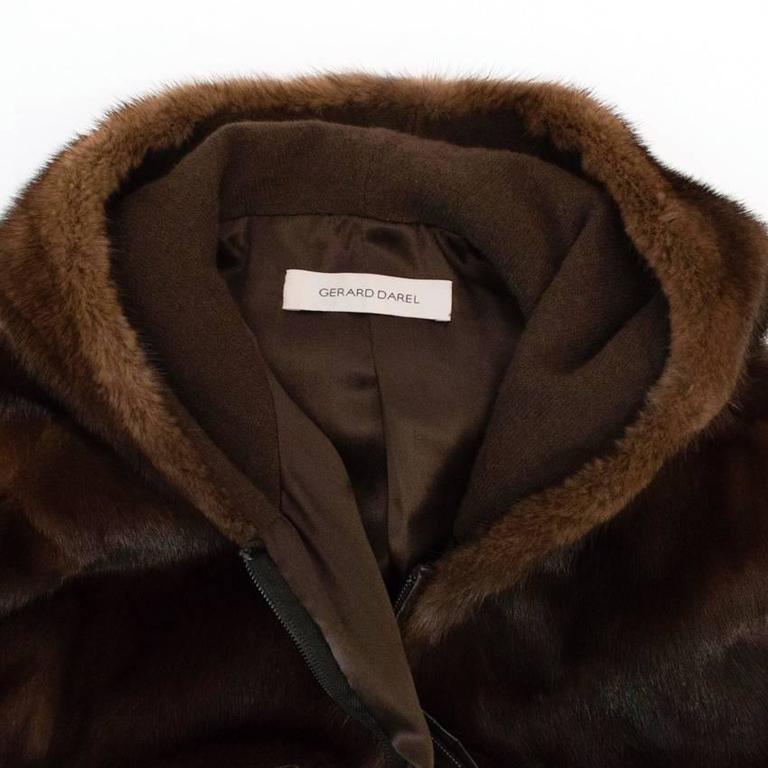 Gerard Darel Chocolate Brown Mink Jacket For Sale At 1stdibs