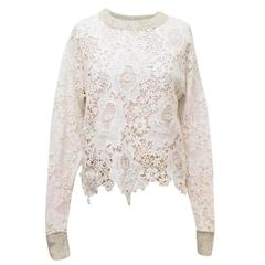See by Chloe White Crochet Jumper with a Grey Knitted Back