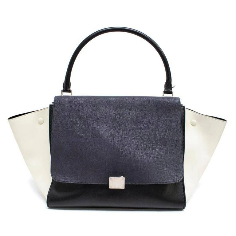 Celine Black, White And Navy Trapeze Bag 1